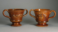 Treacleware (Rockingham brown glazed earthenware) chocolate or loving cups, circa 1840-1860. For sale. treacleware.co.uk